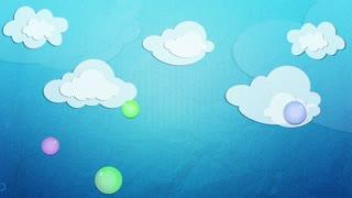 Children cartoon sky background, clouds, bubbles