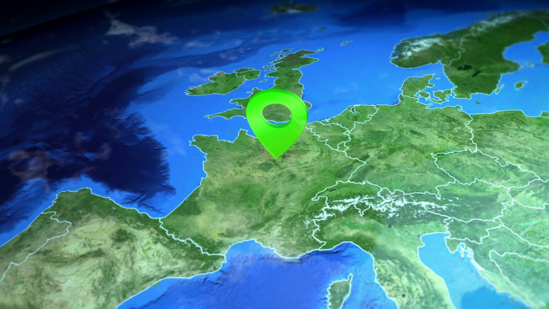 Picture of: France On The Europe Map 3d Map Render Motion Through Clouds Land View From Top With Zoom Of Continent Animated Pin Marked Location Of Country On The Geographic Map Background For Travel