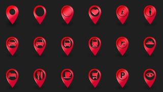 Icon set, map pins