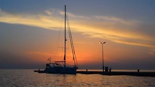 Sea sunset, yacht outdoor