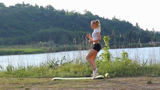 Athlete female running on spot workout outdoors in the park