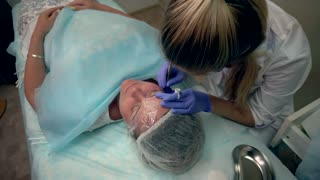 Beautician Makes Procedure Patient Draws Eyebrows Mikrobleyding Client Permanent Tattoo, Eyebrow Reconstruction, Micro Pigmentation