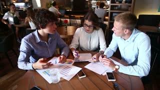 Business team negotiates talk and discuss