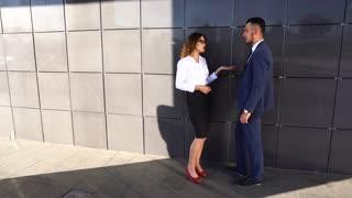 Business Team Standing Near Center Office Acquaintance
