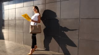 Business Woman Girl Work Business Center Look at Documents