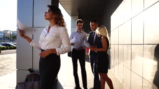 Business Woman Tired Waving Paper Hot Issues, Team Standing Near Center Office