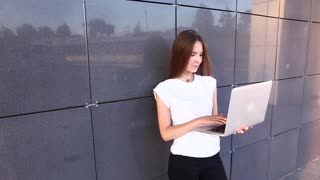 Hand Business Woman Press Touchpad Keyboard Laptop