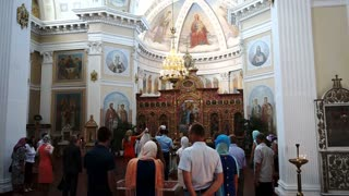 People in Church Orthodox Paintings and Icons in Temple, Religious House, Sulture
