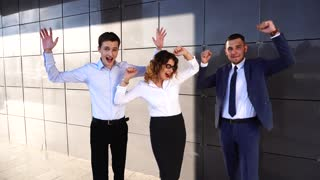 Portrait Happy Funny Business Team Standing Near Center Office Looking at Camera