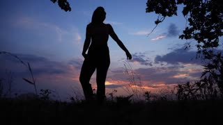 Silhouette Female Girl do Yoga Against Red Pink Sunset Sky Tree