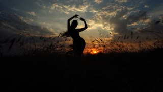 Silhouette One Girl Doing Yoga Background Sunset Clouds Sky
