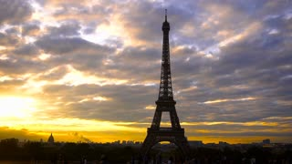 Bird flying in Eiffel Tower background. Concept of Parisian attraction and visiting France. Wonderful sunset and cloudscape.
