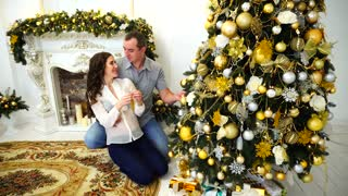 Couple Together Preparing For Upcoming Holiday and Embrace in Bright Room on Background of Festive Christmas Tree and Fireplace