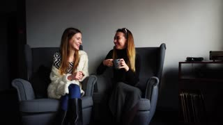 Funny young women, employees chat together, discuss work or gossip at lunch, tell each other news of day and laugh, sitting in gray comfortable chairs in stylish cafe on winter evening. European