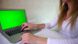 Green screen Teacher preparing for lectures in university, woman sitting near table and searching information in web