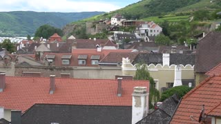 Houses with red old roofs near Danube river and green hills, long black bridge. Village in Austria next to Linz. Concept of travel comfortable houses for renting