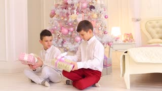 Lovely boys brothers study gifts and sit on floor in bedroom with Christmas tree