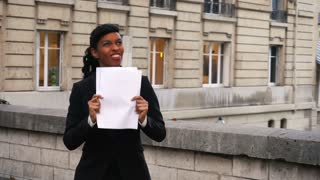 Student knew about excellent result on exam, girl rejoicing at good news
