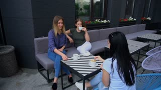 Women sit around table and drinking coffee, talk. Ladies on left has fair and brown hair. Girl on right has long nose, black hair and dressed in blue jeans and T-shirt. Concept of good working