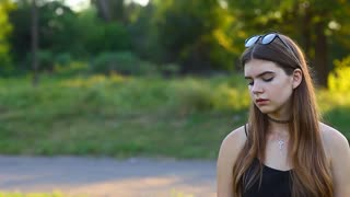 Young Beautiful Girl Shows Emotions Upset Crying
