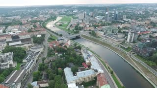 Aerial View Over The City Near River 10