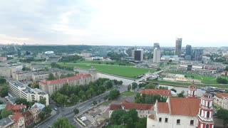 Aerial View Over The City Near River 2