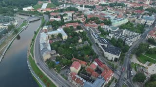 Aerial View Over The City Near River 7