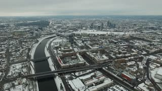 Aerial View Over The City Near River, Winter 7