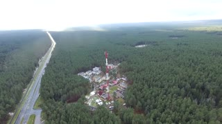 Flight Over The Highway, Tv Tower And Forest 3