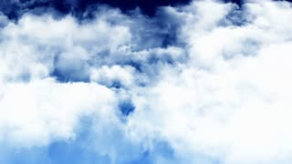 Flight Through Dark Blue Sky
