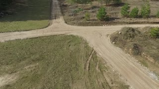Flying Over Gravel Road In Country 2