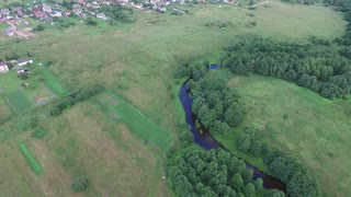 Panorama Over Country Near River And Houses 1