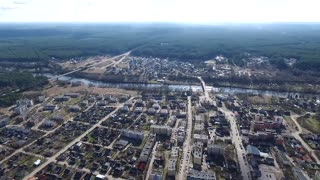Panorama Over Small Town Near River