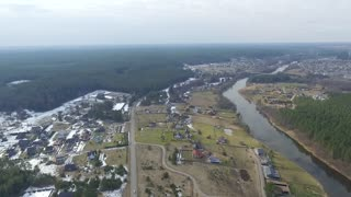 Panorama Over Small Town With Rotation 1