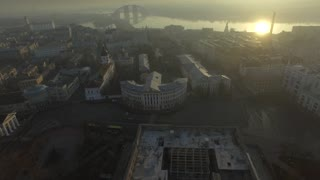 Aerial panorama of old europe city Kyiv, UA. Features center streets of the city at sunrise 2017. Panoramic drone shot.