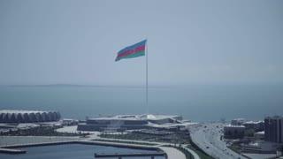 Azerbaijan Flag Square In Baku