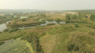 Calm swampy river in forest, summer daytime meadow. Aerial shot with fog at horizon.