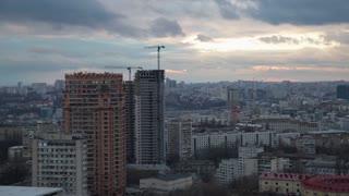 City Scape Buildings. Urban Scene Concept. Some construction cranes in shot