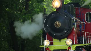 Close up of historic retro steam train in the forest