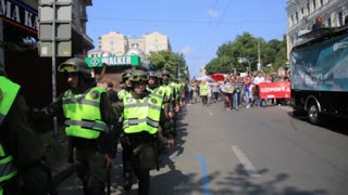 KYIV, UKRAINE - 18 JUNE: Police security guards on gay parade march in Kiev