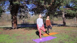 Two persons doing couple yoga namaste pose exercise fitness in the forest at sunset. Tree pose