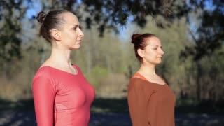 Two persons doing couple yoga namaste pose exercise fitness in the forest at sunset