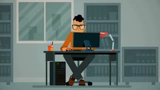 2D  Flat Animation Character Loop Work in Office alpha channel