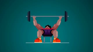 2D illustration and animation Loop athlete makes weight lifting Simple Flat Animation