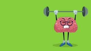 Cute brain cartoon lifting weights High Definition animation colorful scene