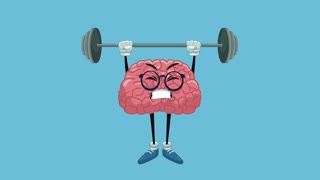 Funny brain cartoon lifting weights High Definition animation colorful scenes