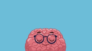 Funny brain cartoon over books falling background High Definition animation colorful scenes