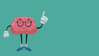 Funny brain cartoon showing browser High Definition animation colorful scene
