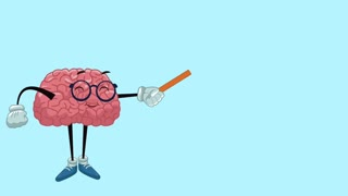 Funny brain teaching human head High Definition animation colorful scene