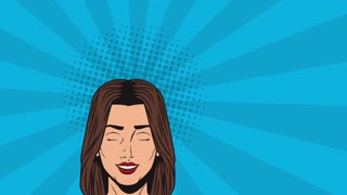 Pop art beautiful woman with blank speech bubble cartoon High definition animation colorful scenes